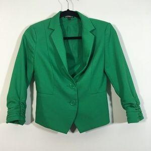 Express Blazer Size 2 Green Button Front Jacket